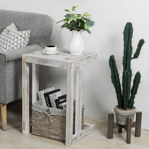 Under-The-Couch Shabby Chic Whitewashed Wood Side Table - MyGift