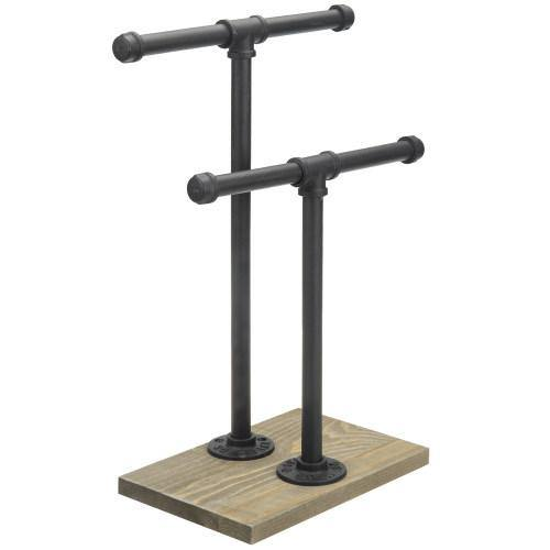 Urban Rustic Metal Industrial Pipe & Gray Wood Necklace Jewelry Stand