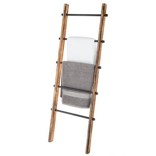 Urban Rustic Wall-Leaning Wood & Metal Blanket Ladder - MyGift