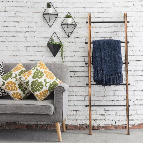 Urban Rustic Wall-Leaning Wood & Metal Blanket Ladder