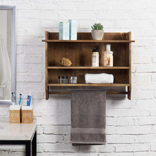 Urban Wood Bathroom Shelves with Towel Bar