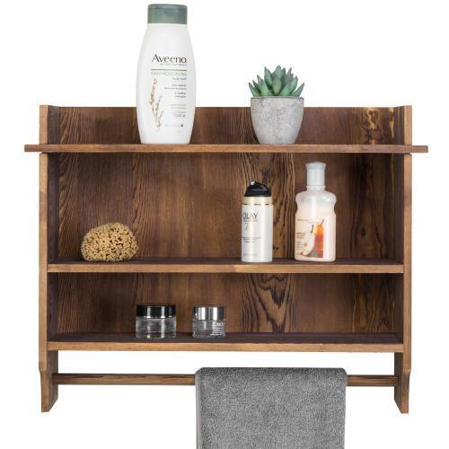 Urban Wood Bathroom Shelves With Towel Bar Mygift