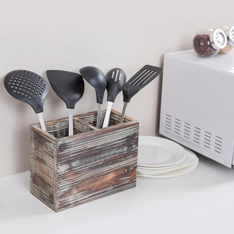 2-Compartment Torched Wood Kitchen Cooking Utensil Holder Organizer Box - MyGift Enterprise LLC