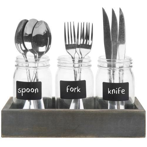 Utensil Organizer w/ Mason Jars, Chalkboard Labels and Vintage Gray Wood Tray
