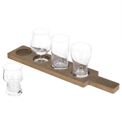 MyGift 5-Piece Variety Craft Beer Tasting Flight Set with 4 Glasses & Wood Paddle Serving Tray - MyGift Enterprise LLC