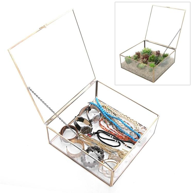 Vintage Brass & Clear Glass Decorative Jewelry Organizer with Latching Lid - MyGift Enterprise LLC