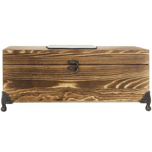 Vintage Burnt Wood Wine Gift Box Chest with Chalkboard Label & Metal Feet