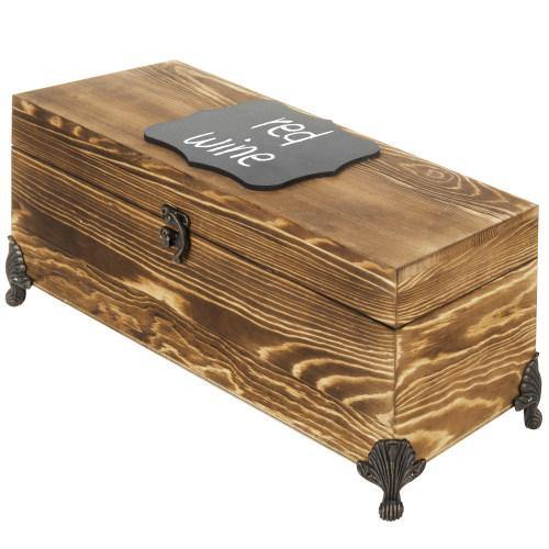 Vintage Burnt Wood Wine Gift Box Chest with Chalkboard Label & Metal Feet - MyGift