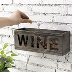 Vintage Gray Wood and Metal Mesh Wall WINE Cork Holder