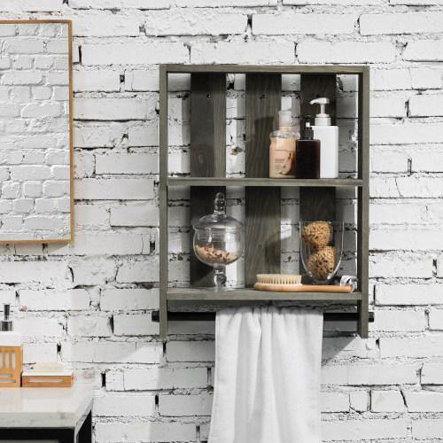 Vintage Gray Wood Bathroom Organizer Shelf with Metal Pipe Towel Bar