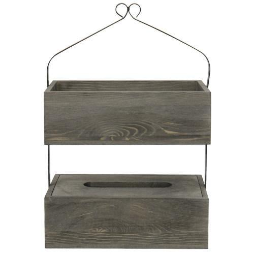 Vintage Gray Wood Counter-Top Shelf Rack with Tissue Box