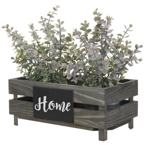 Vintage Gray Wood Crate Style Plant Box with Chalkboard Label - MyGift