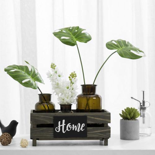 Vintage Gray Wood Crate Style Plant Box with Chalkboard Label