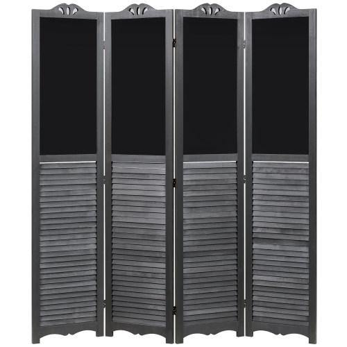 Vintage Gray Wood Louvered Room Divider with Chalkboard Panels - MyGift
