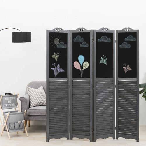 Vintage Gray Wood Louvered Room Divider with Chalkboard Panels