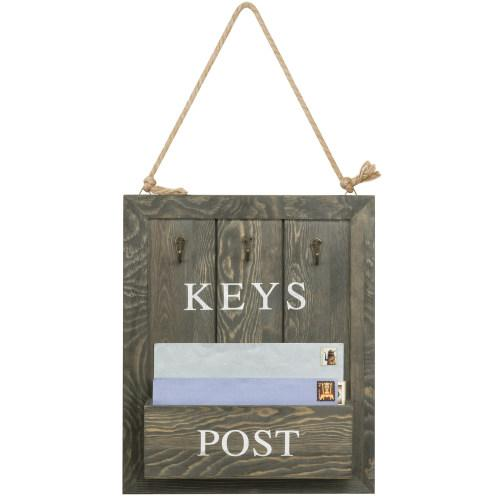 Vintage Gray Wood Mail & Key Organizer