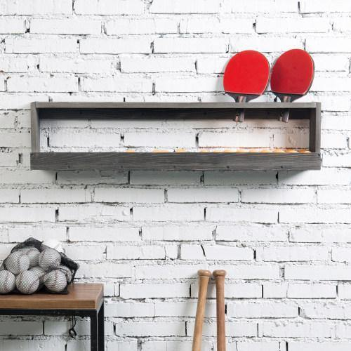 Vintage Gray Wood Ping Paddle Rack with Ball Storage Shelf