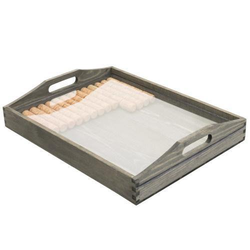 Vintage Gray Wood Serving Tray with Acrylic Display/Wine Cork Storage