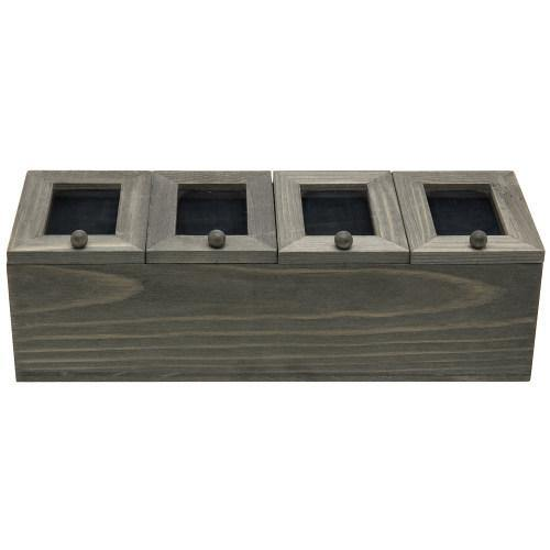 Vintage Gray Wood Tea Box with Acrylic Lids - MyGift
