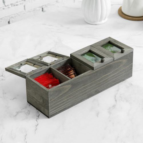 Vintage Gray Wood Tea Box with Acrylic Lids