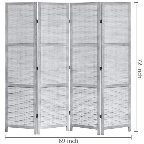 Vintage Gray Wood & Whitewashed Woven Bamboo Room Divider - MyGift
