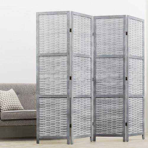 Vintage Gray Wood & Whitewashed Woven Bamboo Room Divider