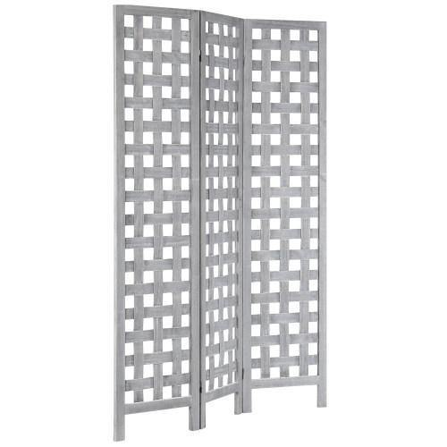 Vintage Gray Woven Grid Wood Room Divider - MyGift