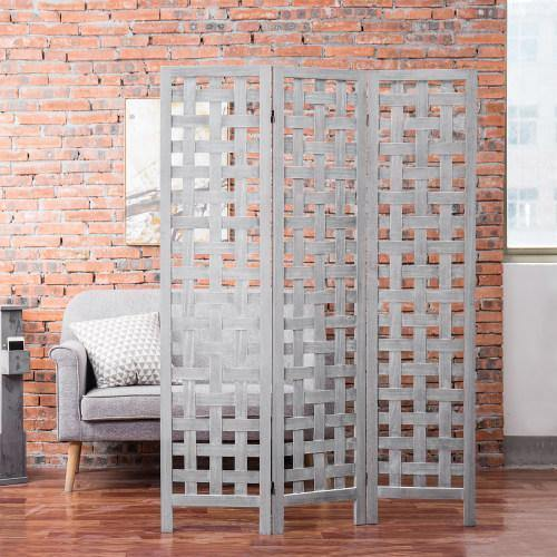 Vintage Gray Woven Grid Wood Room Divider