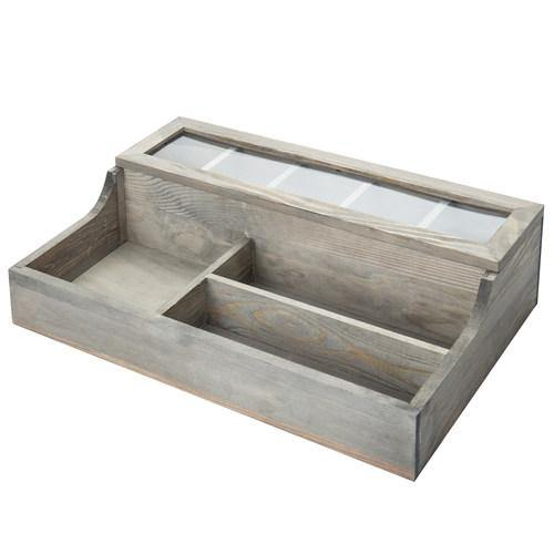 Vintage Graywashed Wood Valet Organizer with Glass Lid