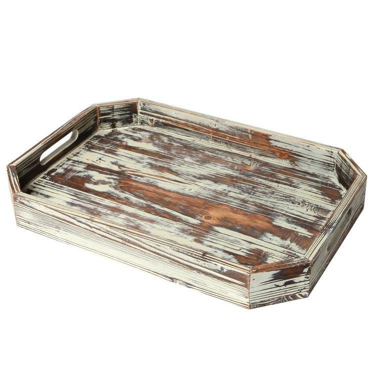 Vintage Inspired Torched Wood Serving Tray with Angled Edges - MyGift