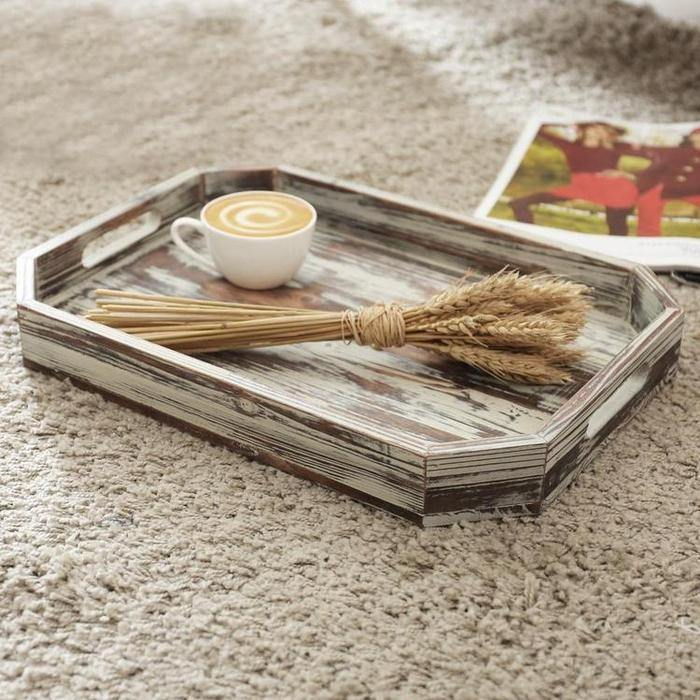 Rustic Torched Wood Serving Breakfast Tray with Cutout Handles and Angled Edges - MyGift Enterprise LLC
