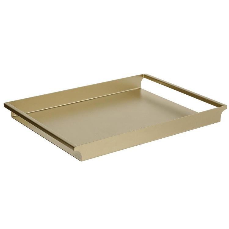 Vintage Metal Brass-Tone Decorative Serving Tray with Sleek Rounded Cutout Handles - MyGift Enterprise LLC