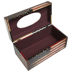 Vintage Patriotic American Flag Design Hinged Refillable Tissue Box Holder Cover