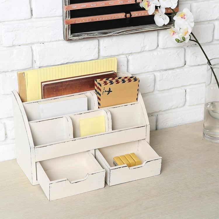 6 Compartment Vintage White Wood Desk Organizer with 2 Drawers - MyGift Enterprise LLC