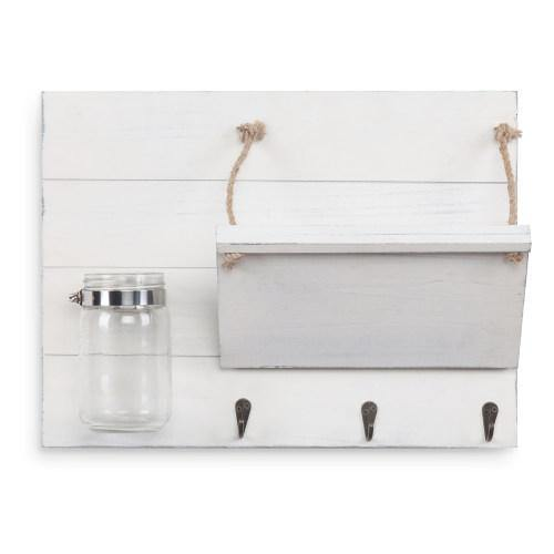 Vintage White Wood Entryway Organizer with Mason Jar - MyGift