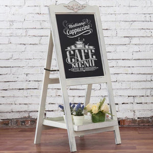 Decorative Vintage Whitewashed Brown Wood Large Freestanding Easel Chalkboard - MyGift Enterprise LLC