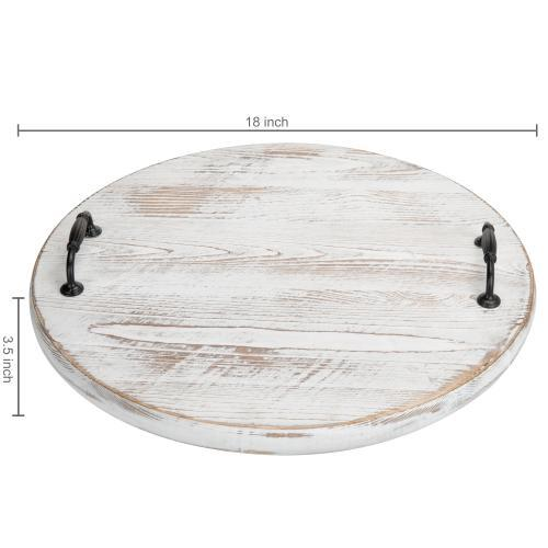 Vintage Whitewashed Wood Lazy Susan Turntable with Handles