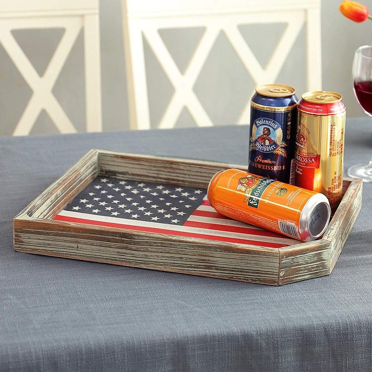 Vintage Whitewashed Wood US Flag Serving Tray