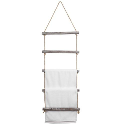 Wall Hanging Rustic Torched Wood and Rope Ladder Towel Rack with 5 Rungs - MyGift
