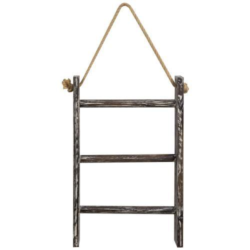 Wall Hanging Torched Wood Towel Ladder with Rope - MyGift