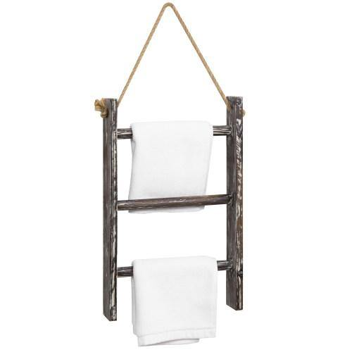 Wall Hanging Torched Wood Towel Ladder with Rope