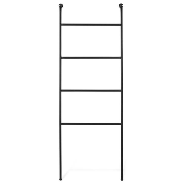 4-Foot Wall-Leaning Black Metal Ladder Towel Rack - MyGift Enterprise LLC