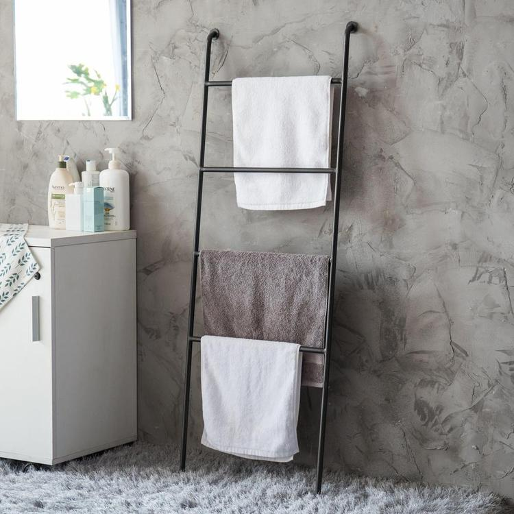 Wall-Leaning Ladder Towel Rack, Black Metal