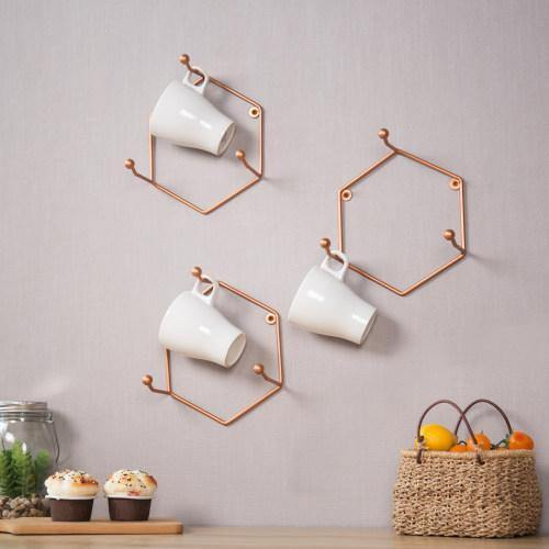 Wall Mounted 3-Hook Hexagonal Bronze Metal Mug Holders, Set of 3 - MyGift