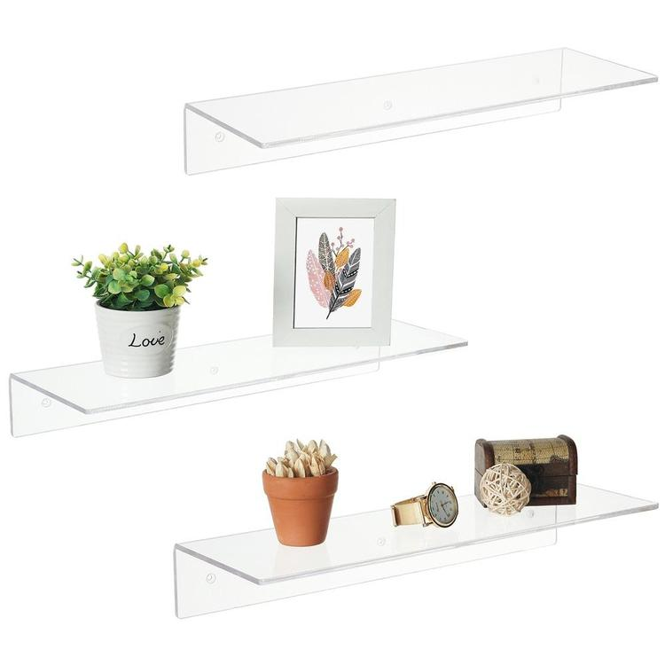 17 Inch Wall Mounted Clear Acrylic Modern Display Racks, Set of 3 - MyGift Enterprise LLC