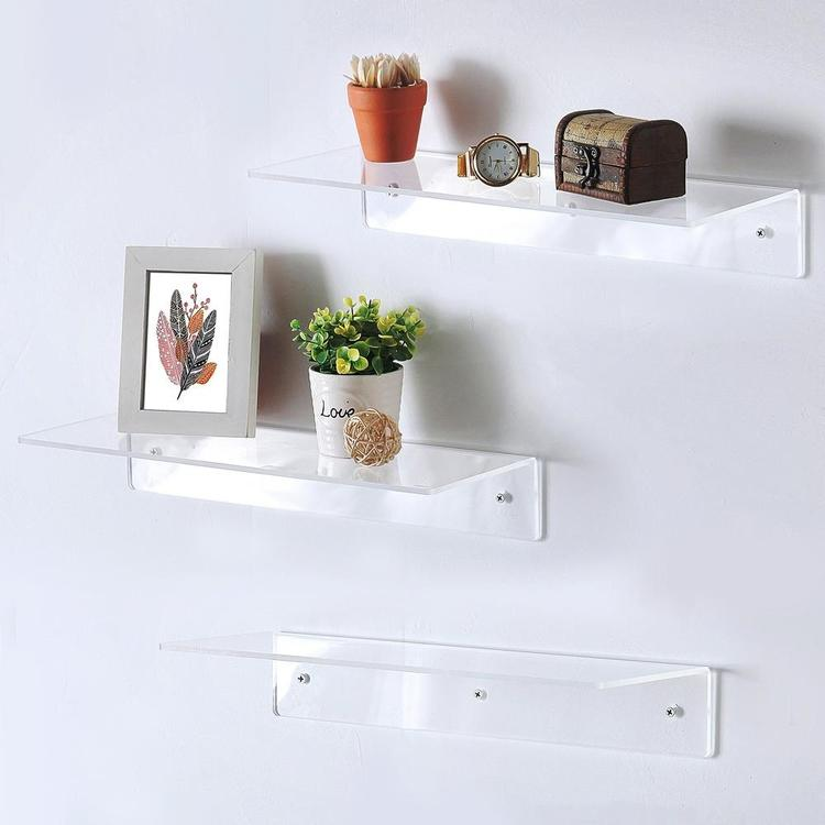 Wall Mounted Acrylic Shelf Racks, Set of 3