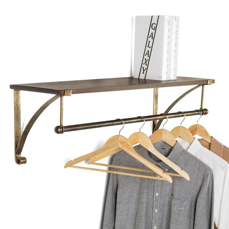 Wall Mounted Antique Bronze-Tone Metal & Wood Floating Shelf w/ Garment Rod - MyGift Enterprise LLC