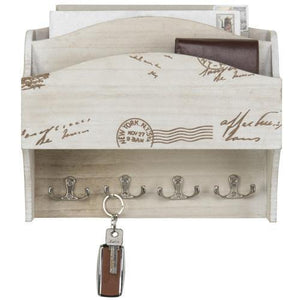 Wall Mounted Beige Wood Mail Sorter with Key Hooks - MyGift