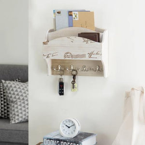 Wall Mounted Beige Wood Mail Sorter with Key Hooks