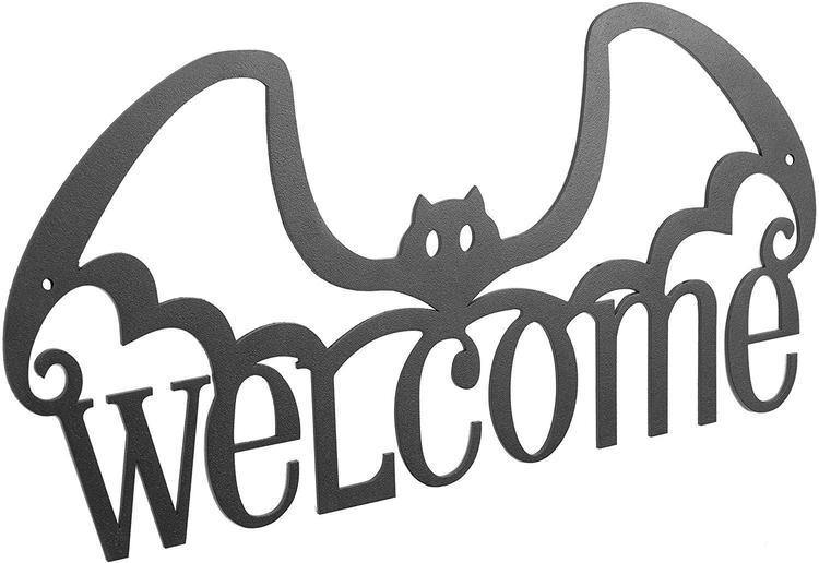 Wall Mounted Black Bat Design Welcome Sign
